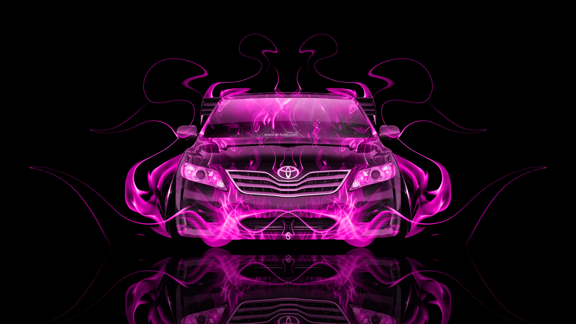 Toyota Camry JDM Tuning Front Pink Fire Abstract .
