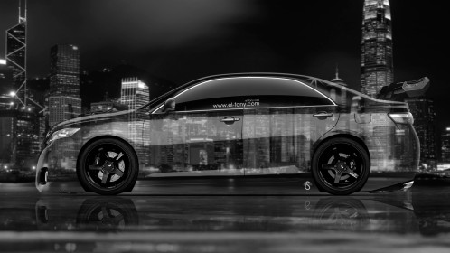 Toyota-Camry-JDM-Tuning-Side-Crystal-City-Car-2014-Black-White-Colors-4K-Wallpapers-design-by-Tony-Kokhan-[www.el-tony.com]