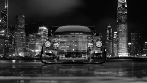 Toyota-Celica-JDM-Tuning-Front-Crystal-City-Car-2014-Black-White-Colors-4K-Wallpapers-design-by-Tony-Kokhan-[www.el-tony.com]