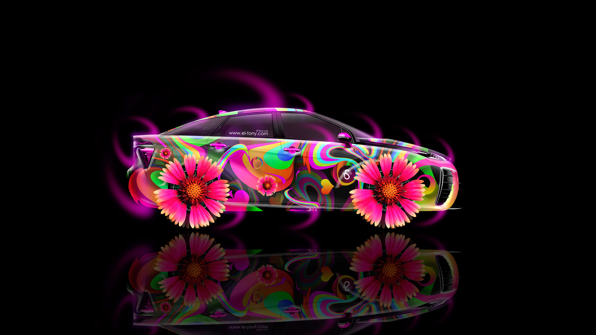Merveilleux Toyota FCV Tuning Side Fantasy Flowers Car 2014