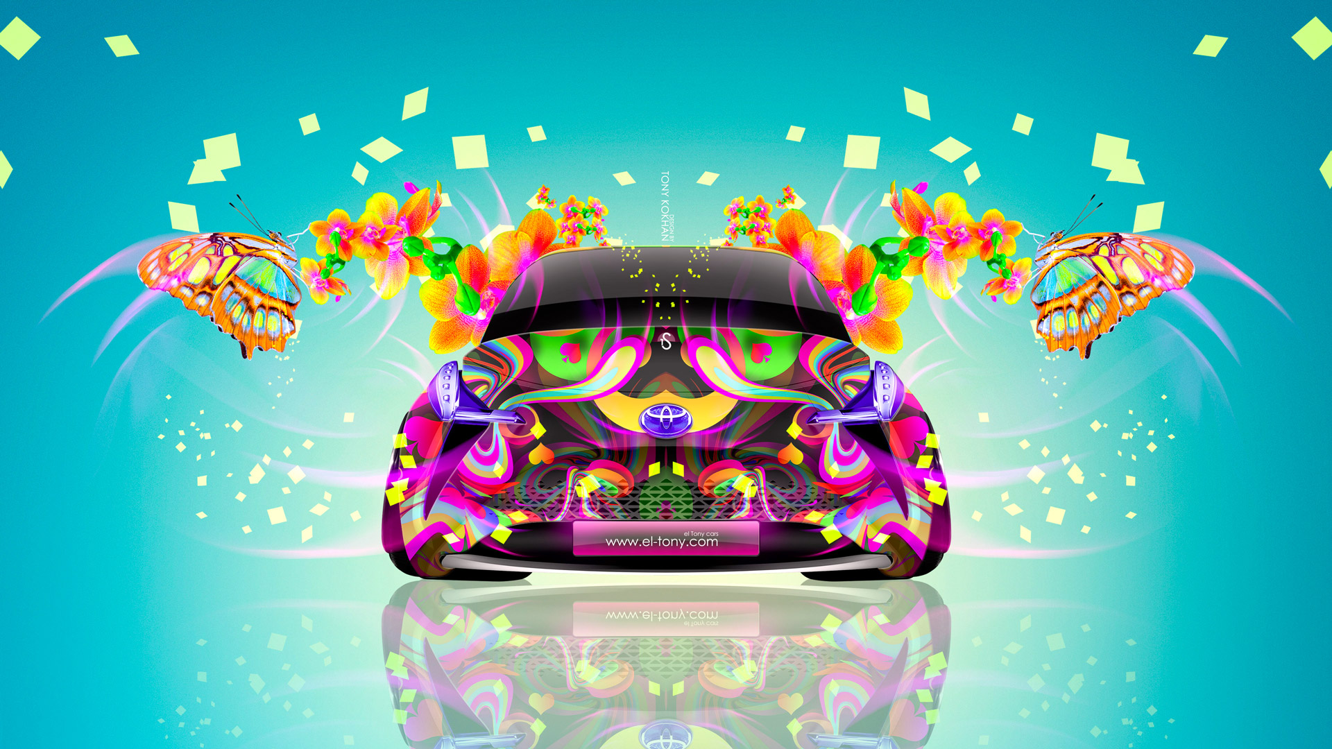 Attirant Toyota FT BH Front Fantasy Flowers Butterfly Car