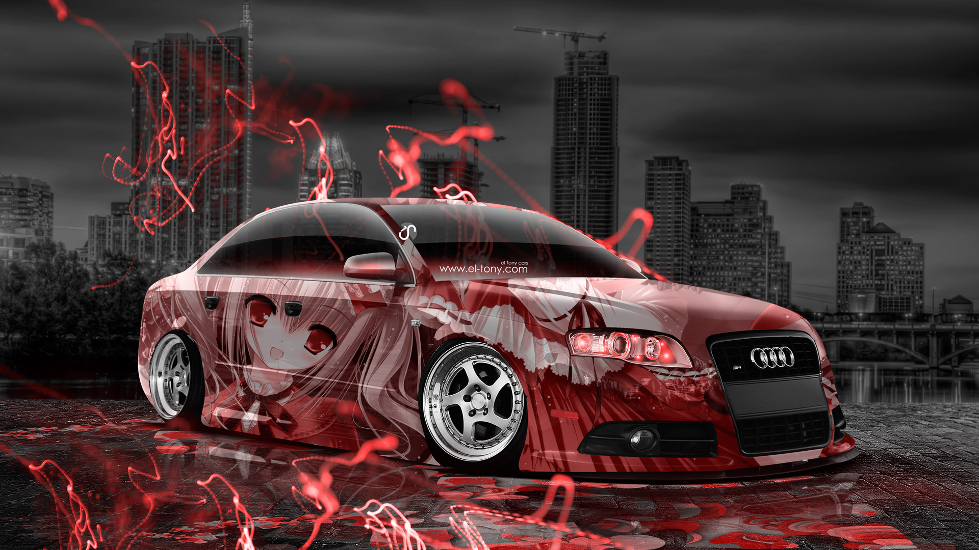 Girls Wallpapers 2015: Audi S4 Tuning Anime Aerography City Car 2015