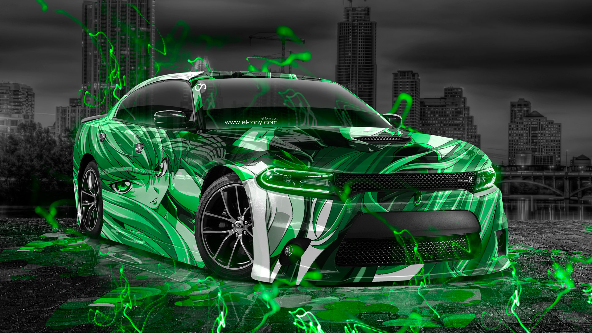 Green Spots Car With Girls Hd Wallpaper: Dodge Charger RT Muscle Anime Girl Aerography City Car