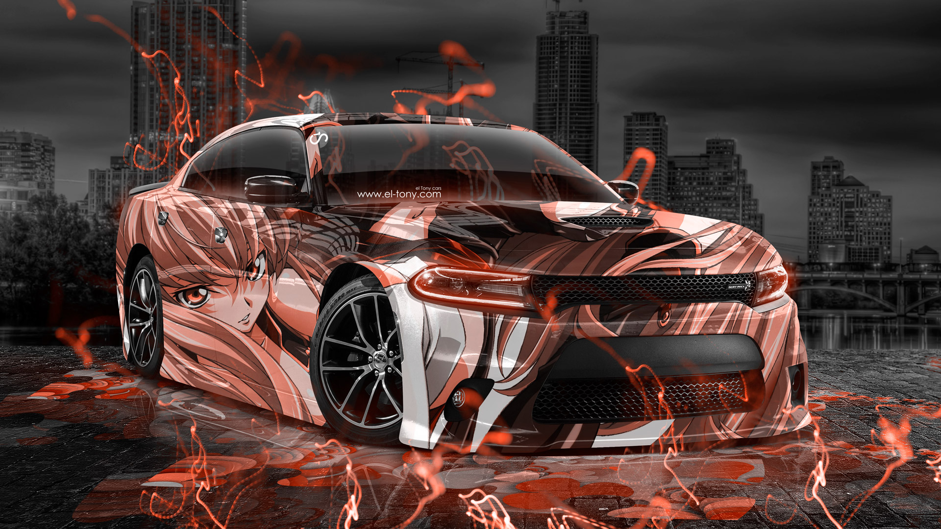 Dodge Charger Rt Muscle Anime Girl Aerography City Car