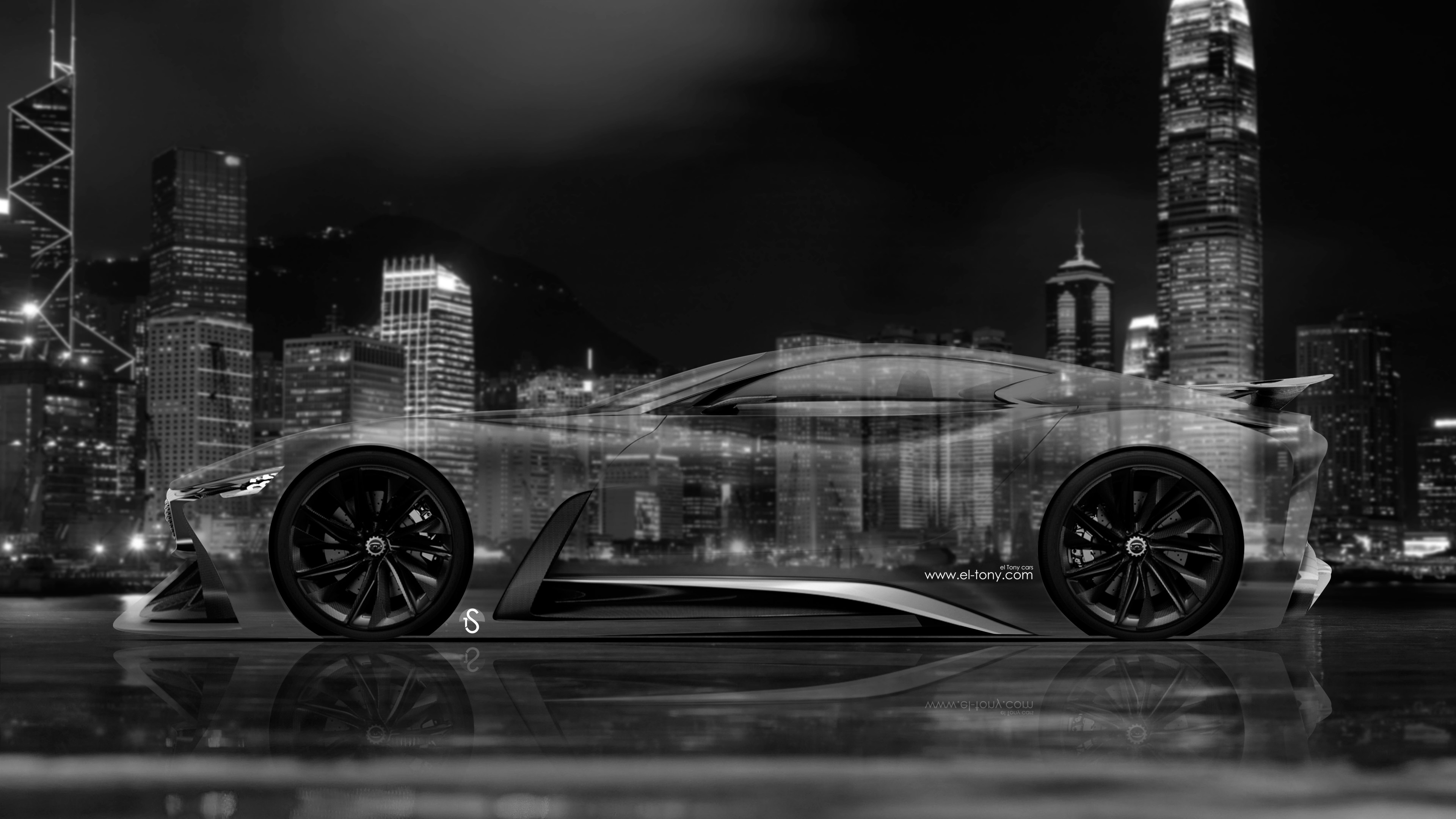 ... 4K Infiniti Vision Gran Turismo Concept Side Crystal City Car 2015