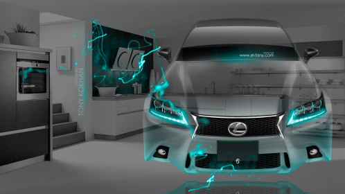 Lexus-GS350-F-Sport-FrontUp-Fantasy-Crystal-Home-Fly-Car-2015-Art-Azure-Neon-Effects-4K-Wallpapers-design-by-Tony-Kokhan-[www.el-tony.com]