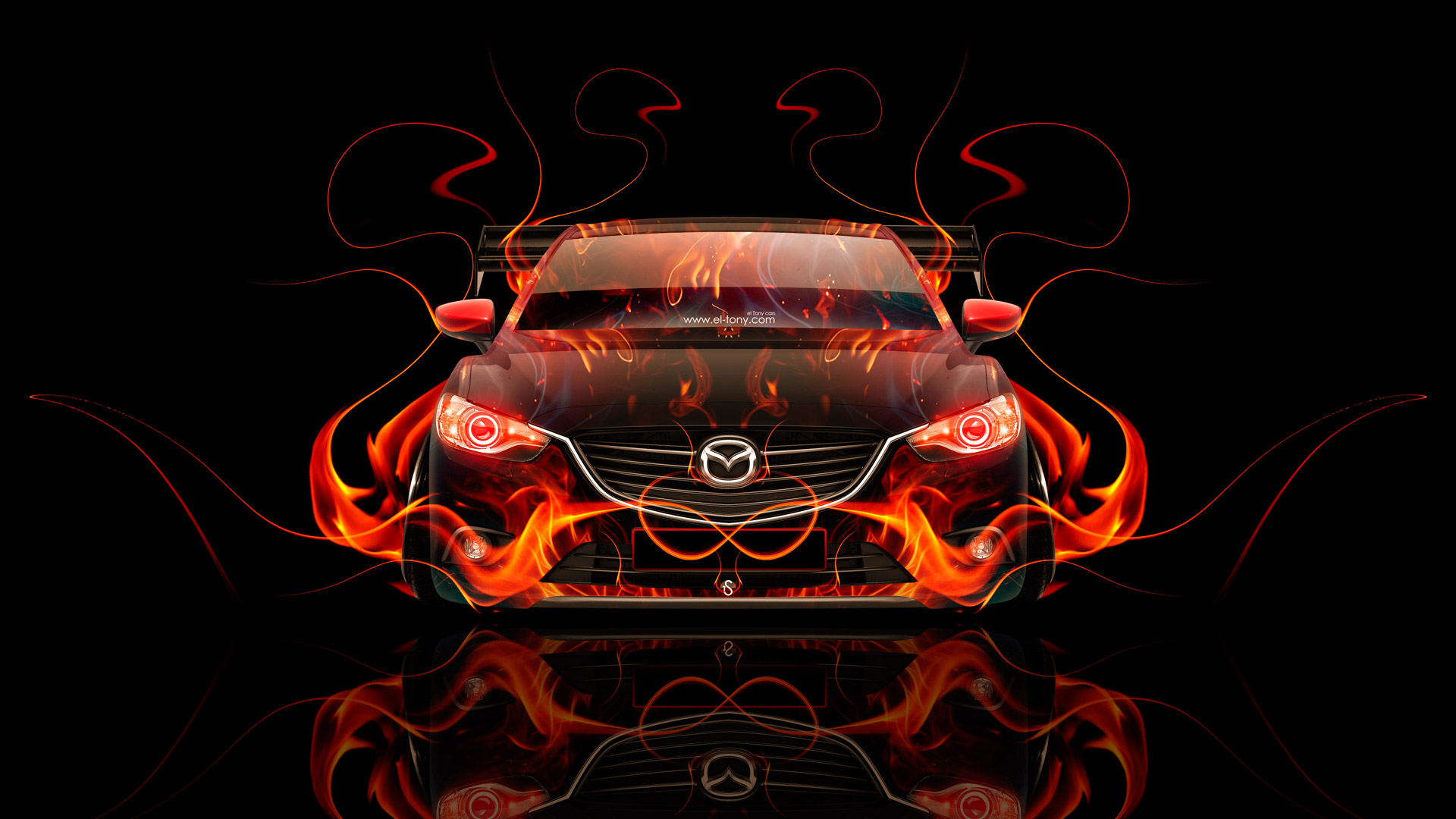 Mazda 6 JDM Tuning Front Fire Abstract Car 2015