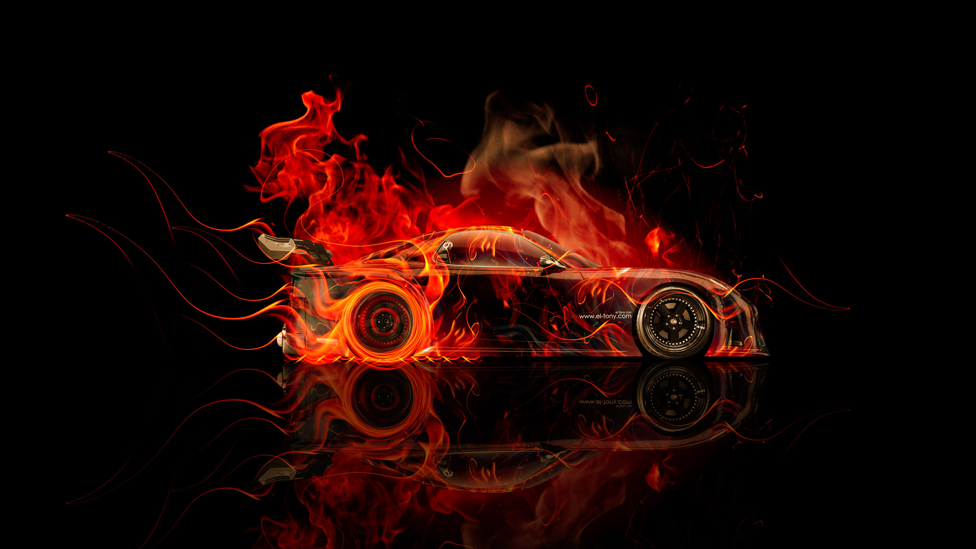Mazda RX7 VeilSide JDM Side Fire Abstract Car
