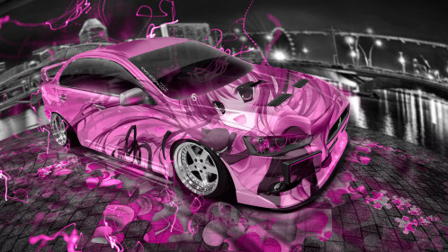 Mitsubishi-Lancer-Evolution-X-JDM-Tuning-Anime-Girl-Aerography-City-Car-2015-Fish-Eye-View-Pink-Neon-Effects-HD-Wallpapers-design-by-Tony-Kokhan-[www.el-tony.com]