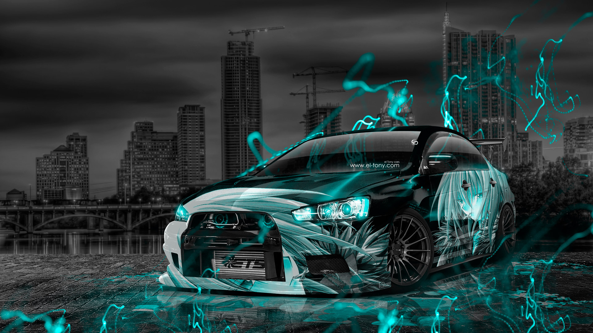 Mitsubishi-Lancer-Evolution-X-Tuning-JDM-Anime-Boy-Aerography-City-Car-2015-Azure-Neon-Effects-HD-Wallpapers-design-by-Tony-Kokhan-[www.el-tony.com]