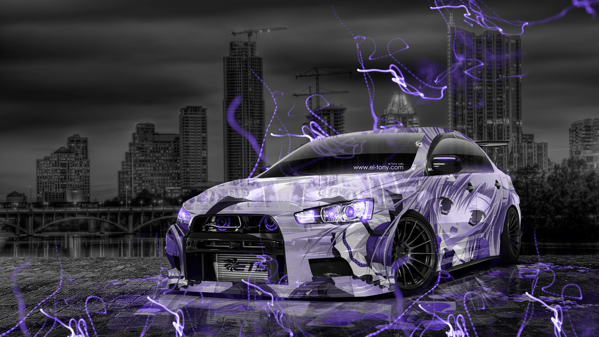 mitsubishi lancer evolution x tuning jdm anime city car