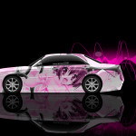 4K Nissan Cedric JDM Tuning Side Anime Girl Aerography Car 2015