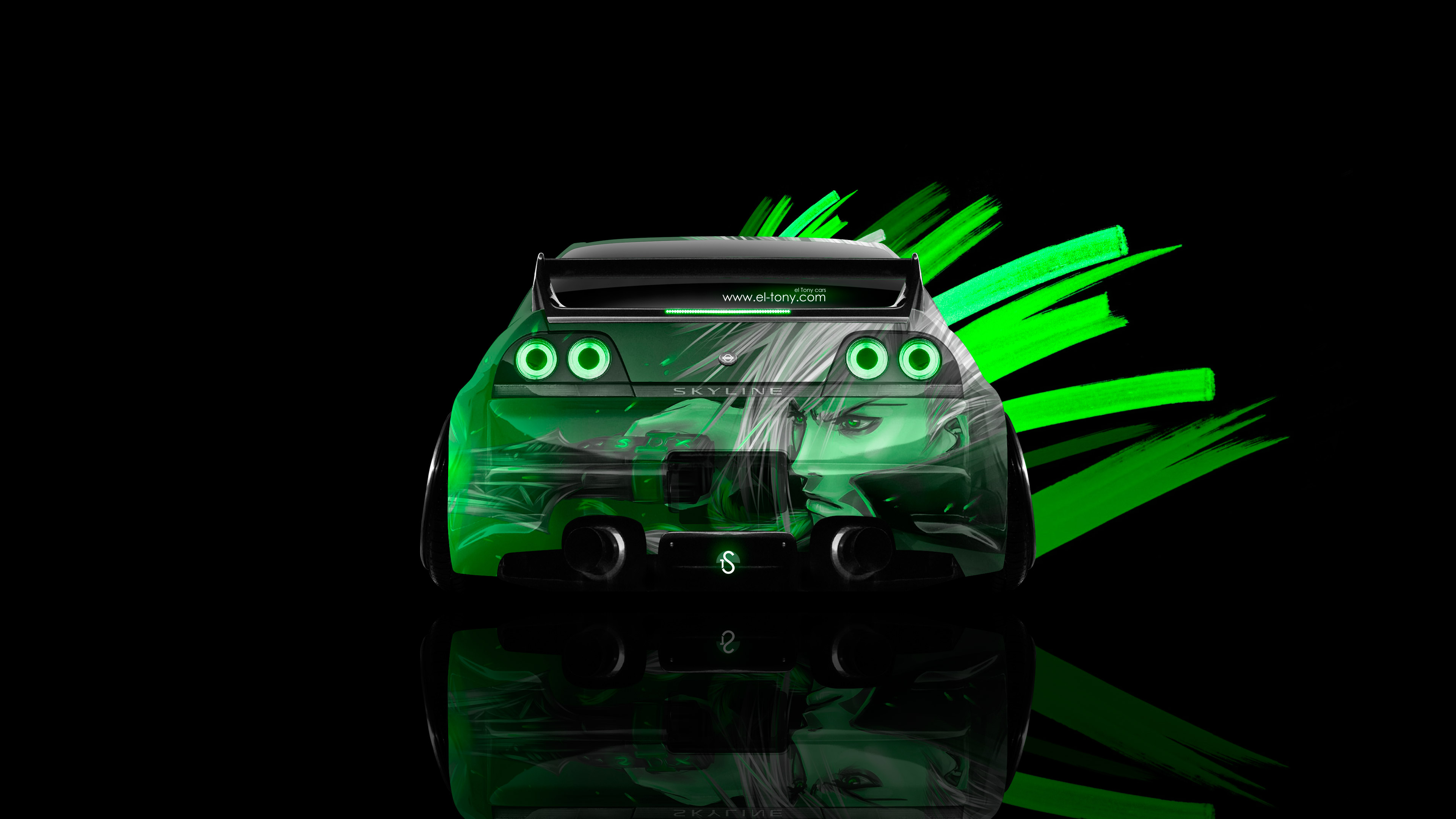 Nissan-Skyline-GTR-R33-Back-Anime-Aerography-Car-2015-Green-Neon-Effects-4K-Wallpapers-design-by-Tony-Kokhan-[www.el-tony.com]