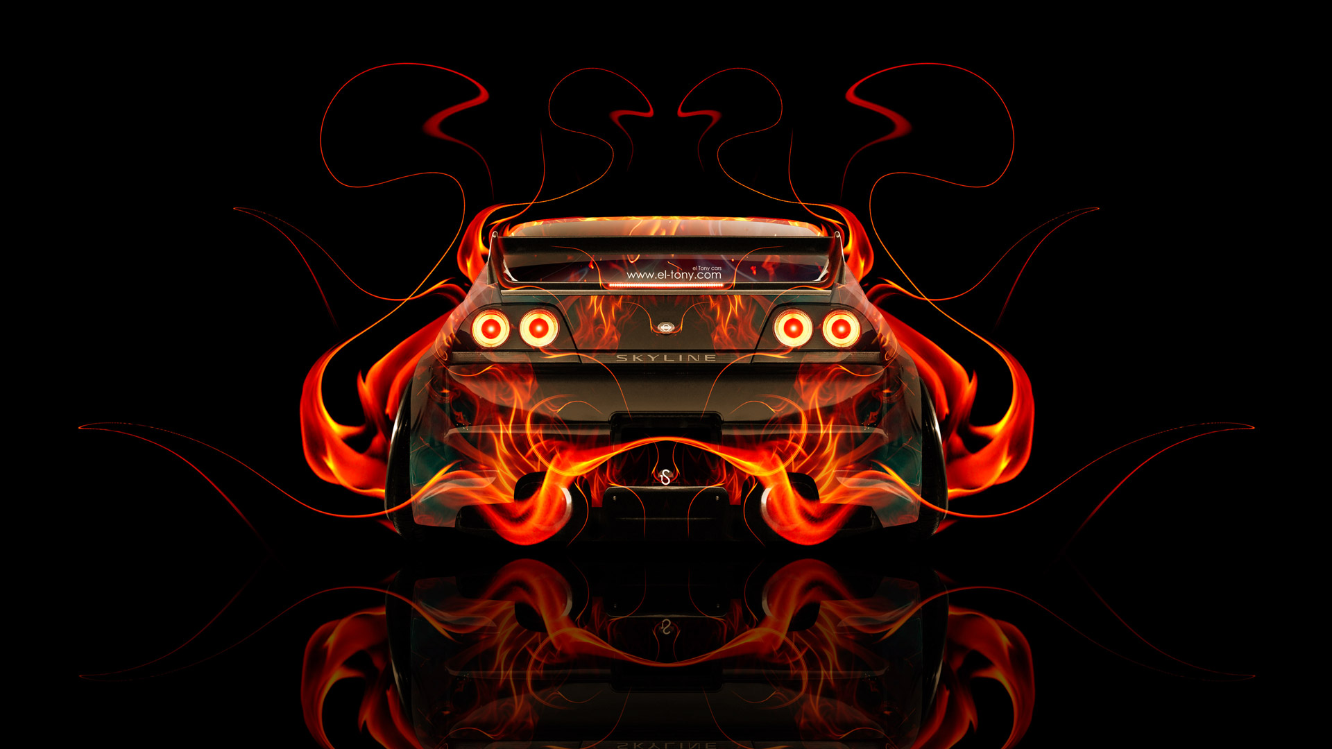 Charmant Nissan Skyline GTR R33 JDM Back Fire Abstract