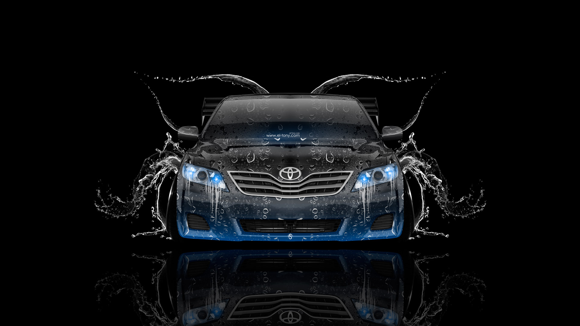 Toyota-Camry-JDM-Tuning-Front-Water-Car-2015-Blue-Neon-HD-Wallpapers-design-by-Tony-Kokhan-[www.el-tony.com]
