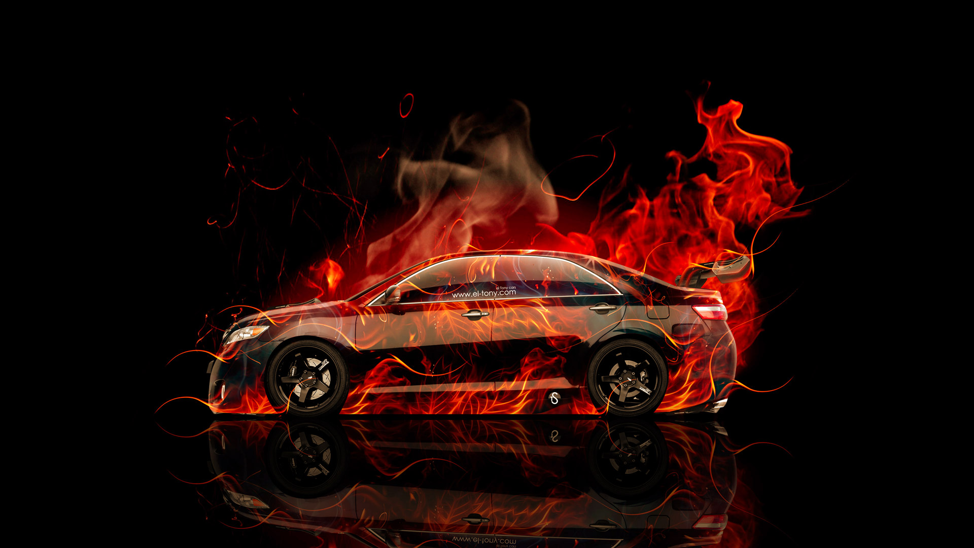 Toyota Camry JDM Tuning Side Fire Abstract Car 2015