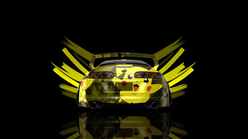 Toyota-Supra-JDM-Back-Pikachu-Anime-Aerography-Abstract-Car-2015-Art-Style-Yellow-Colors-4K-Wallpapers-design-by-Tony-Kokhan-[www.el-tony.com]