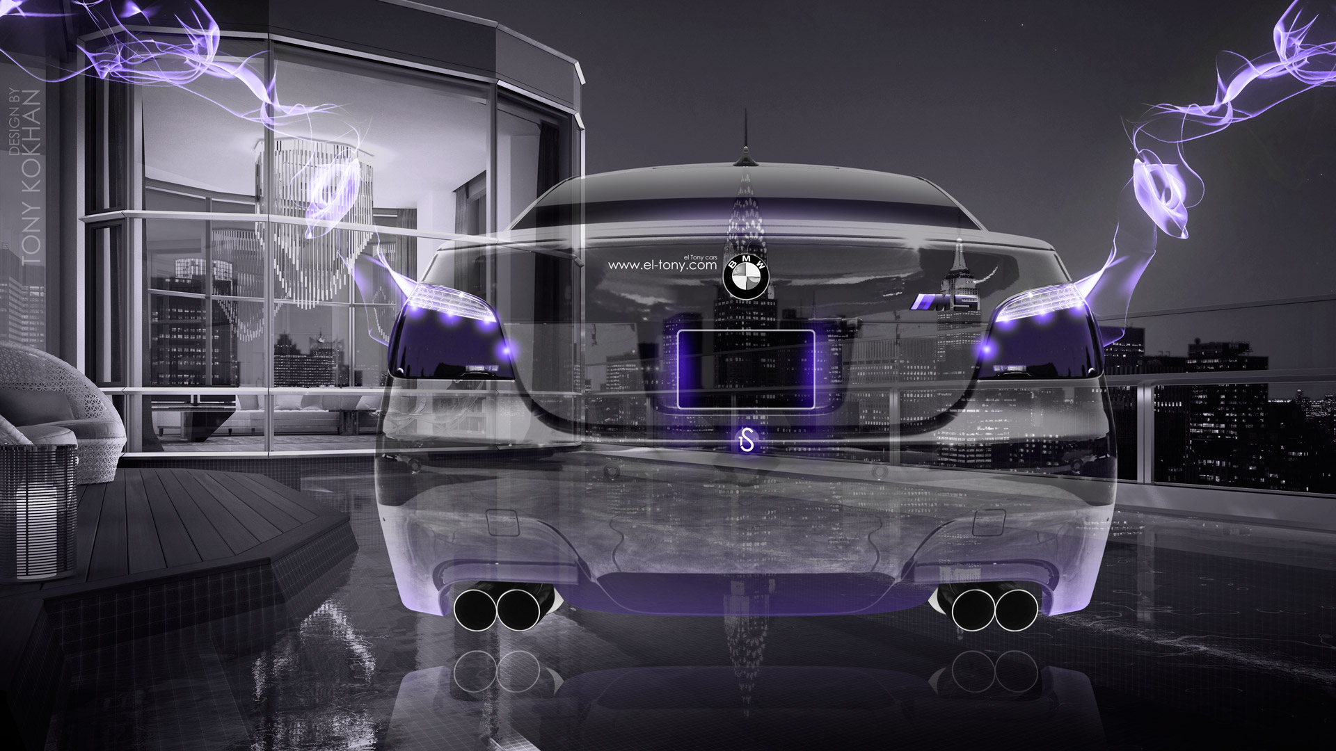 BMW-M5-E60-Back-Fantasy-Crystal-City-Home-Fly-Car-2015-Violet-Neon-Effects-HD-Wallpapers-design-by-Tony-Kokhan-[www.el-tony.com]