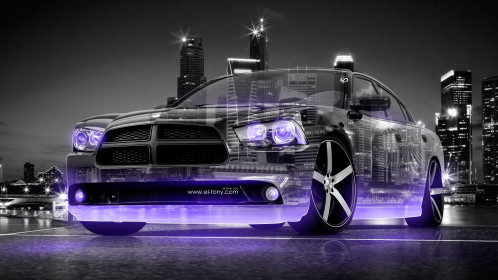 Dodge-Charger-RT-Muscle-3D-Crystal-City-Car-2015-Violet-Neon-4K-Wallpapers-design-by-Tony-Kokhan-[www.el-tony.com]