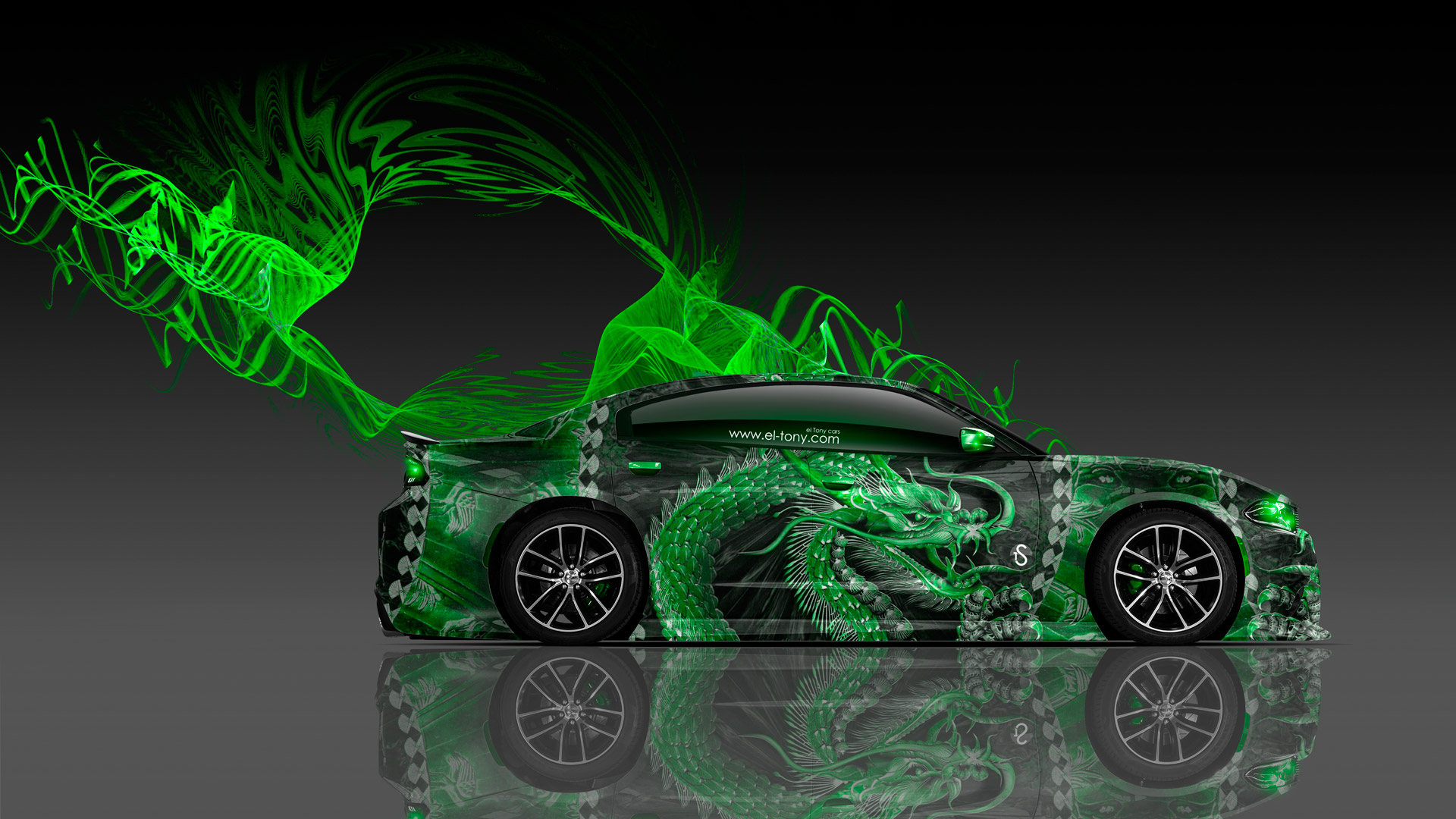 Dodge-Charger-RT-Muscle-Side-Dragon-Aerography-Car-2015-Green-Neon-Effects-HD-Wallpapers-design-by-Tony-Kokhan-[www.el-tony.com]