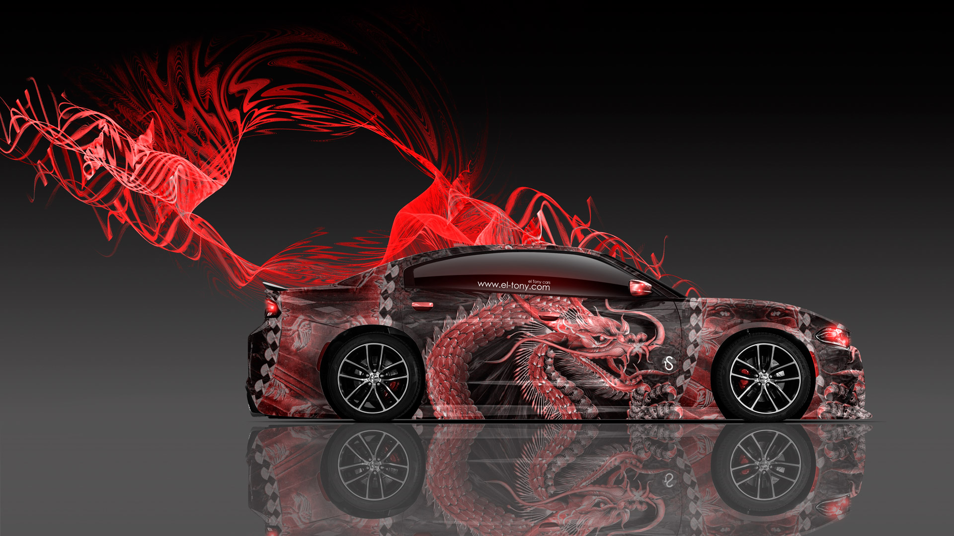 dodge charger rt muscle dragon aerography car 2015