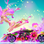 4K Fantasy Fly Flowers Girl Mix Lamborghini Sesto Elemento 2015