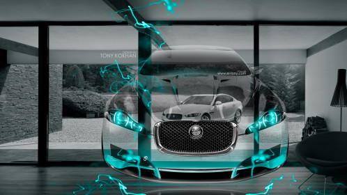 Jaguar-C-XF-Fantasy-Crystal-Home-Fly-Car-2015-with-Jaguar-XE-Azure-Neon-Effects-Art-HD-Wallpapers-design-by-Tony-Kokhan-[www.el-tony.com]