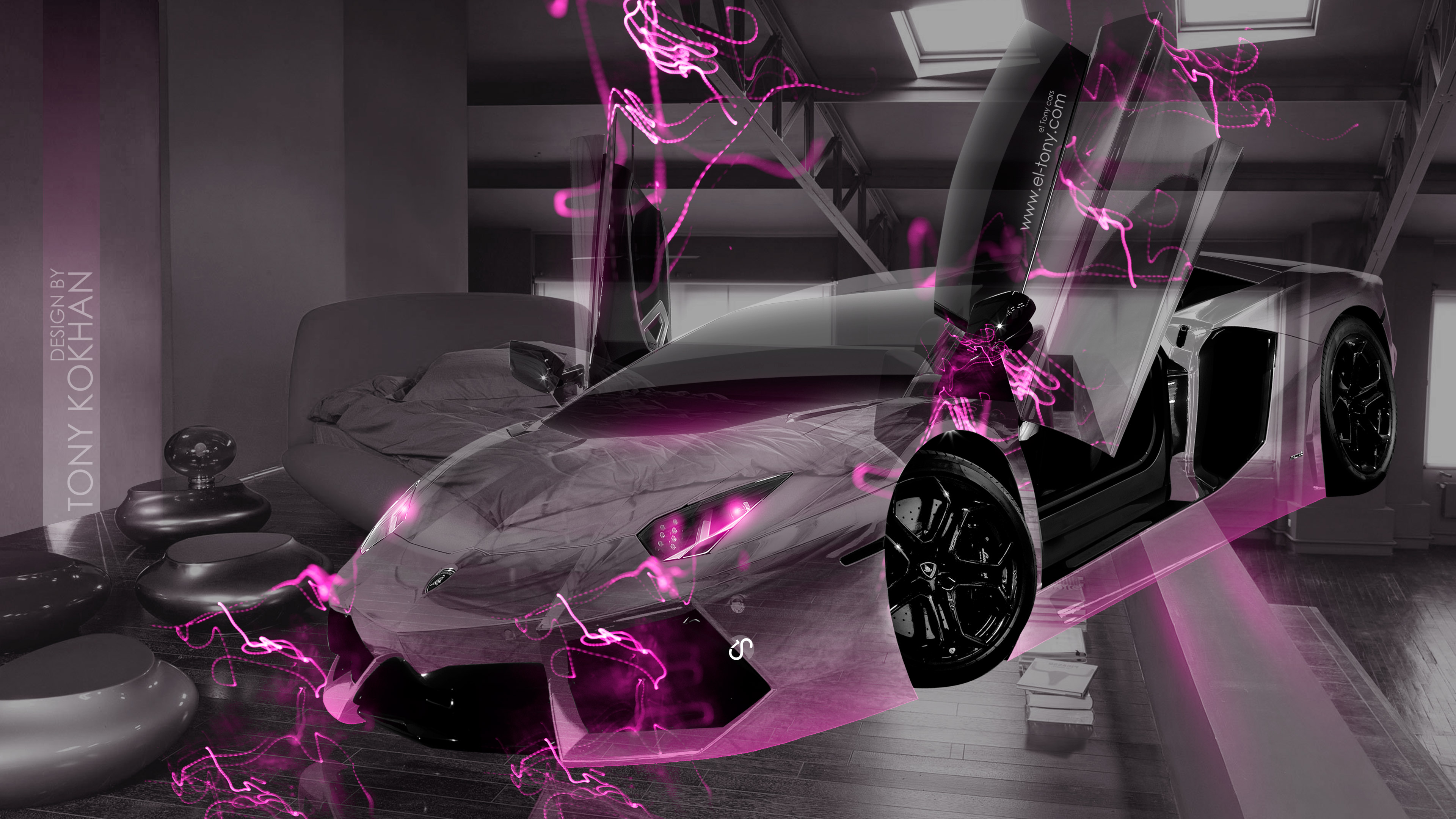Doors fantasy transformer crystal home fly car 2015 pink neon effects