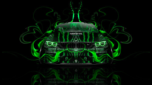 Monster-Energy-BMW-M4-Tuning-Front-Plastic-Acid-Fire-Car-2015-Green-Colors-4K-Wallpapers-design-by-Tony-Kokhan-[www.el-tony.com]
