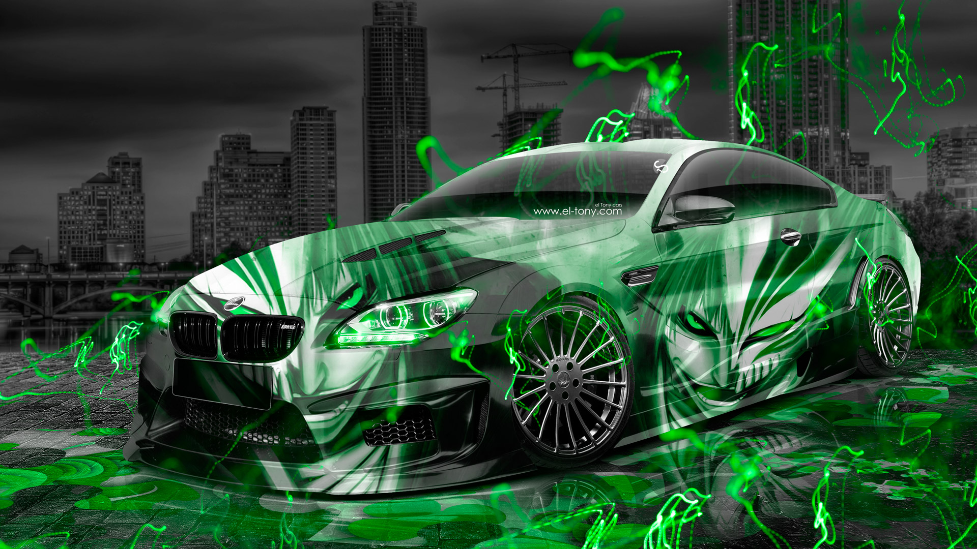 BMW-M6-Hamann-Tuning-3D-Anime-Bleach-Aerography-City-Car-2015-Green-Neon-Effects-HD-Wallpapers-design-by-Tony-Kokhan-www.el-tony.com-image