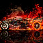 Ferrari FXX K Side Fire Abstract Car 2015