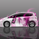 4K Honda Fit JDM Anime Girl With PSP Aerography Car 2015