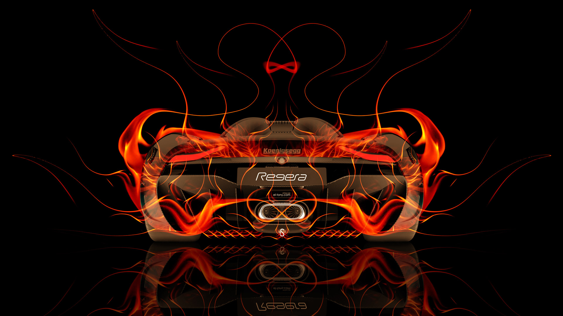 ... Koenigsegg Regera Back Fire Abstract Car 2015