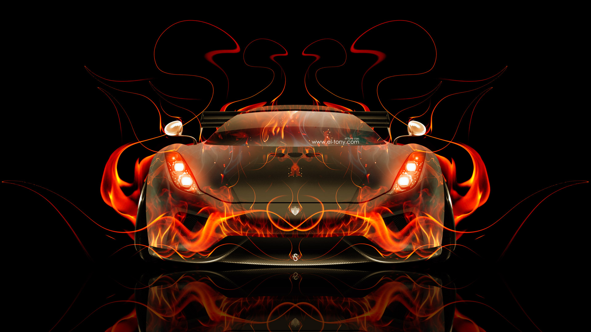 Koenigsegg Regera Front Fire Abstract Car 2015 El Tony