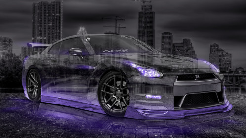Nissan-GTR-R35-JDM-3D-Crystal-City-Car-2015-Violet-Neon-Colors-HD-Wallpapers-design-by-Tony-Kokhan-www.el-tony.com-image