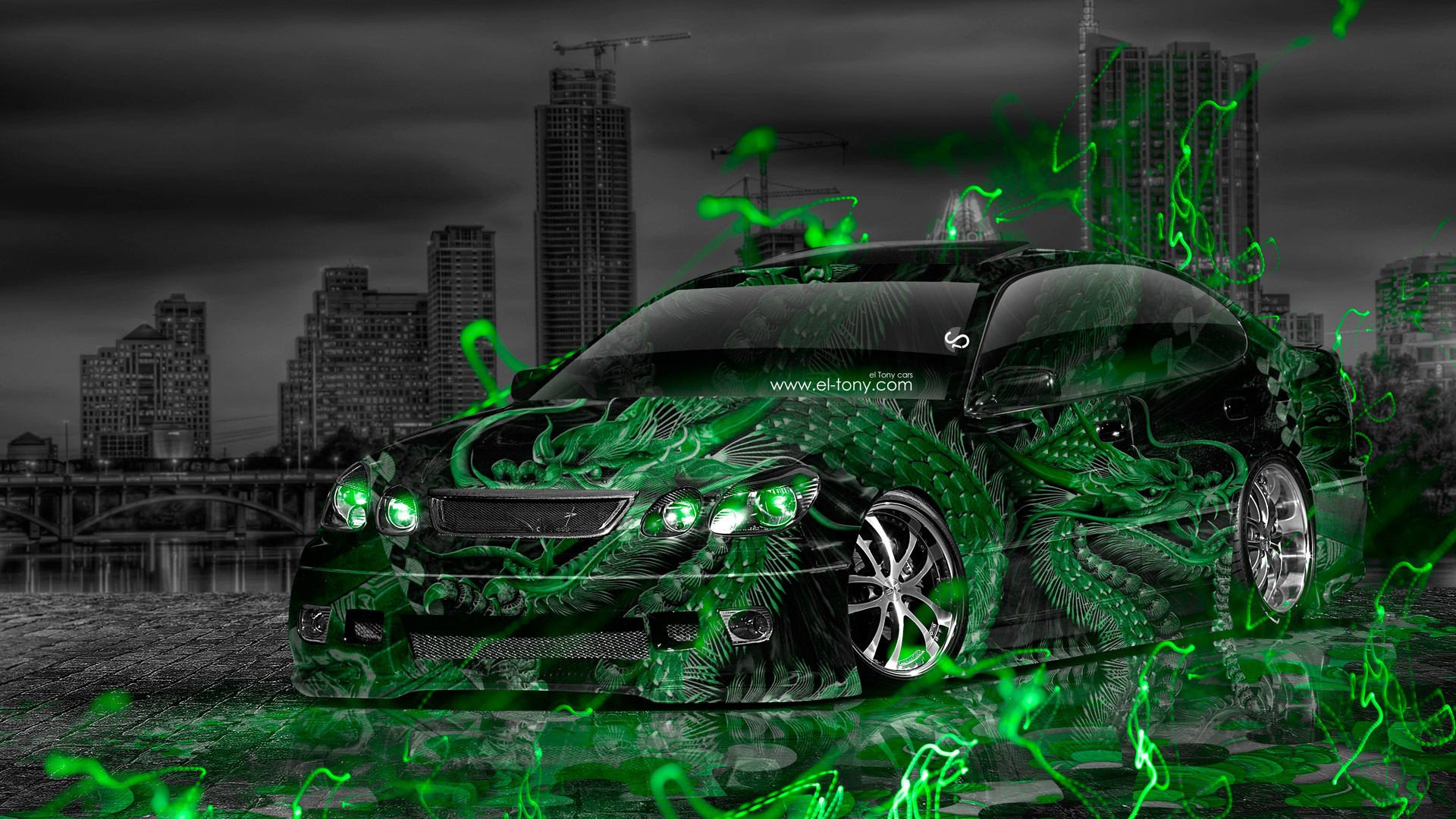 Toyota-Aristo-JDM-Tuning-Energy-Dragon-Aerography-City-Car-2015-Green-Neon-Effects-HD-Wallpapers-design-by-Tony-Kokhan-www.el-tony.com-image