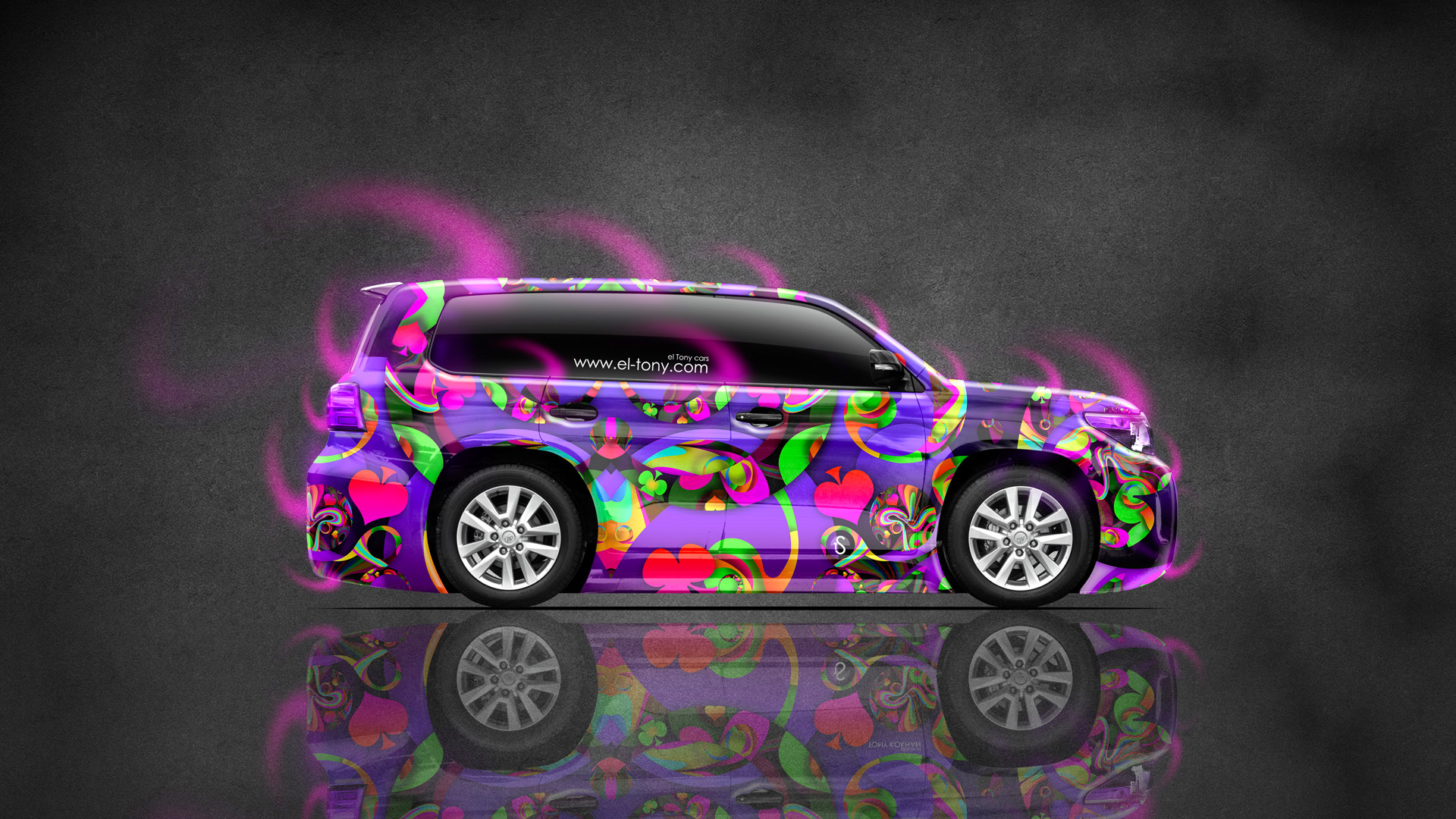 Toyota-Land-Cruiser-200-Jeep-Side-Abstract-Aerography-Car-2015-Multicolors-Pink-Neon-Effects-HD-Wallpapers-design-by-Tony-Kokhan-www.el-tony.com-image