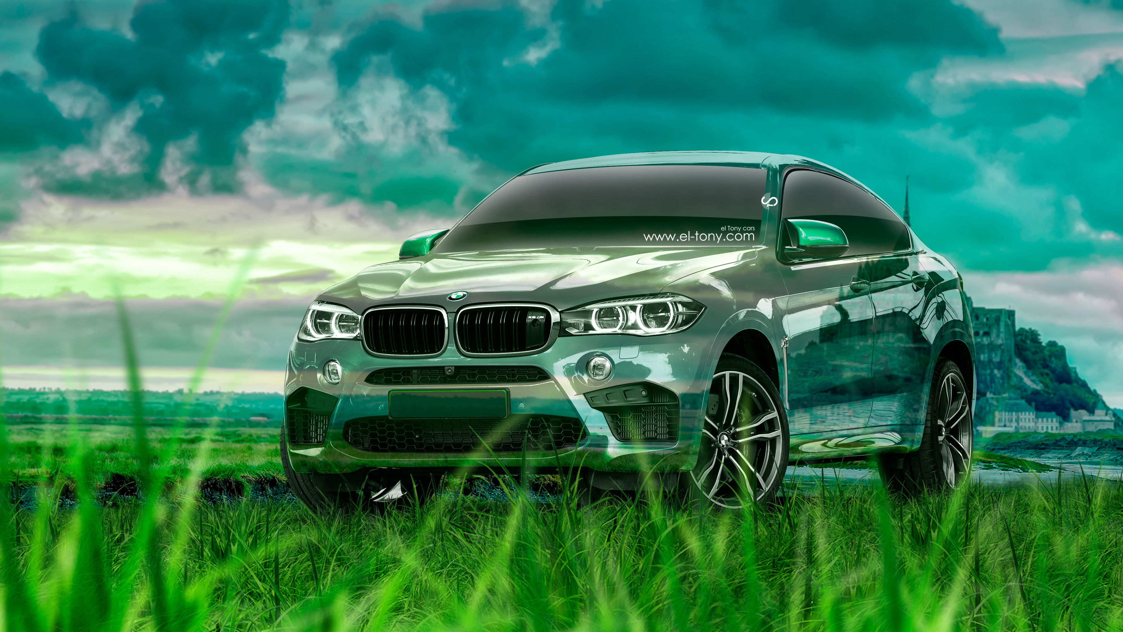 BMW-X6-M-Tuning-Crossover-Crystal-Nature-Car-2015-Green-Grass-Style-4K-Wallpapers-design-by-Tony-Kokhan-www.el-tony.com-image