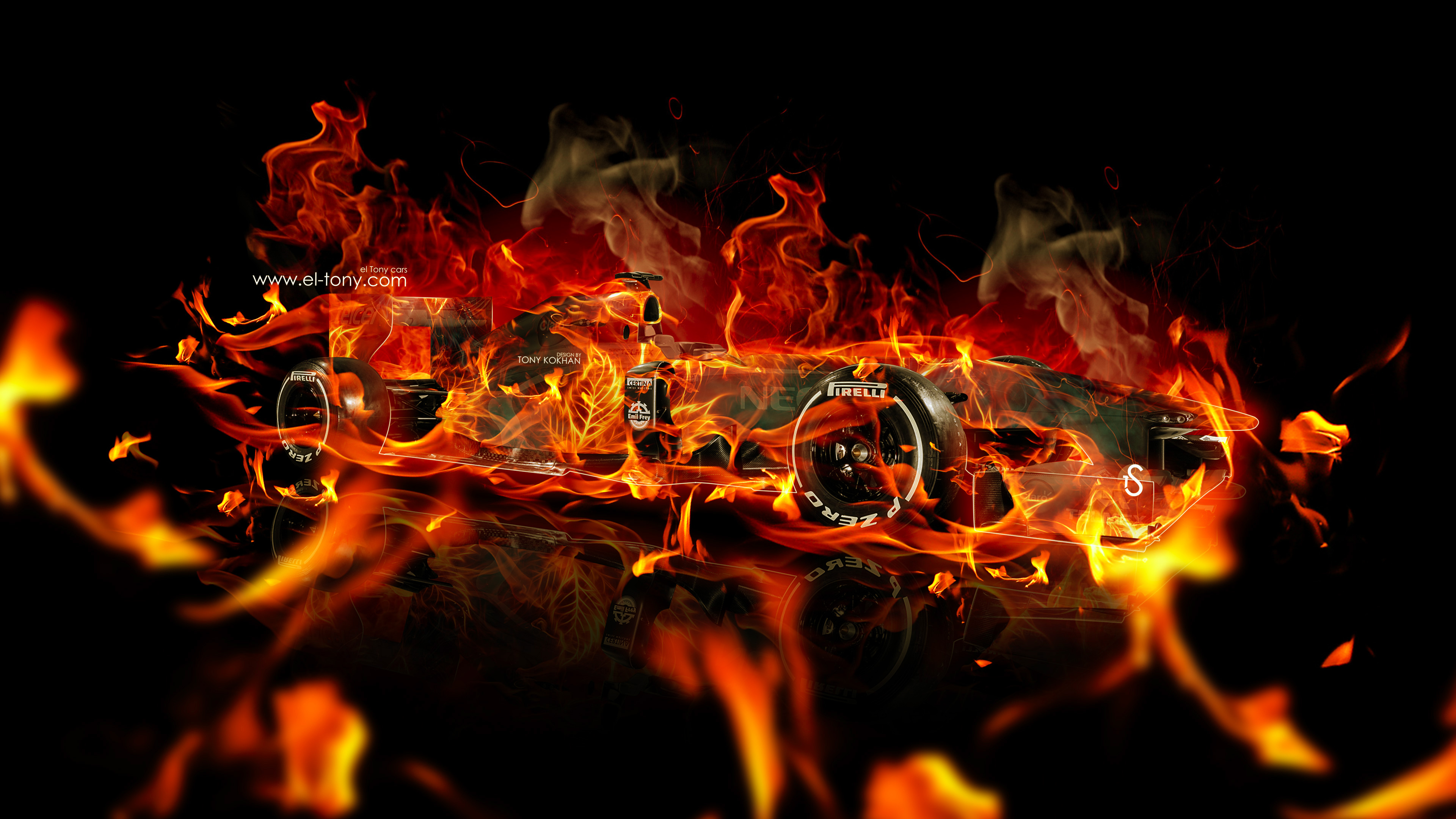 4k Wallpapers F1 Super Fire Abstract Car 2015 El Tony