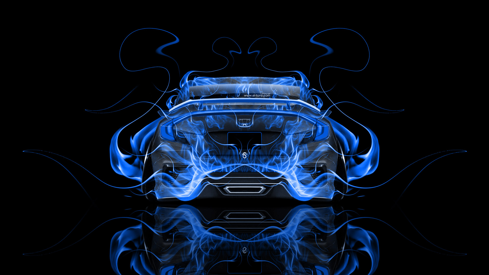 Honda Civic Jdm Back Fire Abstract Car 2015 El Tony