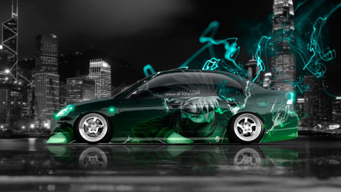 Honda-Civic-JDM-Side-Anime-Boy-Aerography-City-Energy-Car-2015-Creative-Green-Azure-Neon-Effects-4K-Wallpapers-design-by-Tony-Kokhan-www.el-tony.com-image