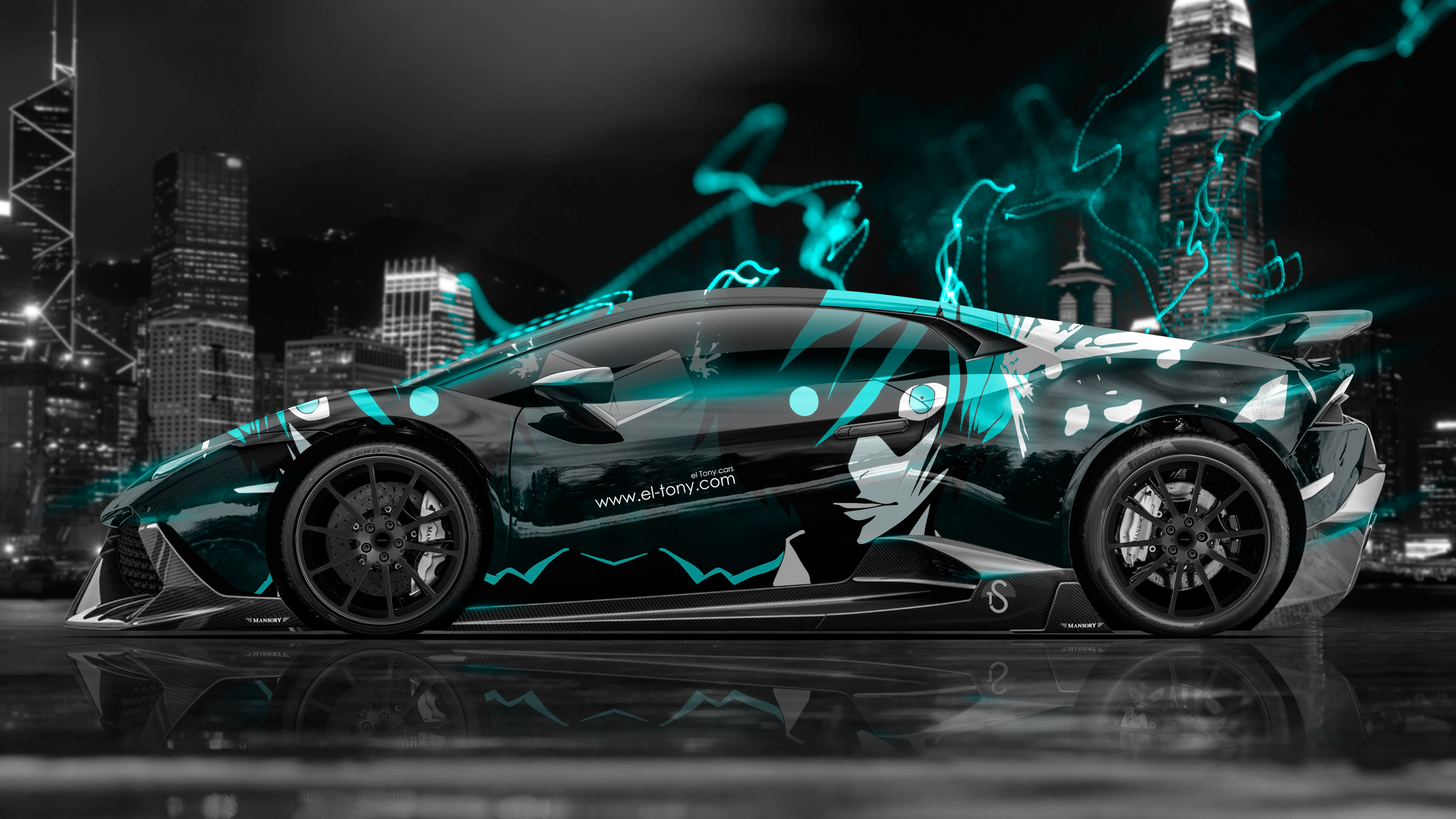 Superbe 4K Lamborghini Huracan Mansory Tuning Anime Aerography City Car 2015