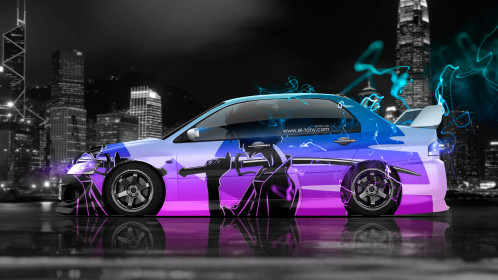 Mitsubishi-Lancer-Evolution-JDM-Side-Anime-Samurai-Aerography-City-Energy-Car-2015-Pink-Azure-Violet-Colors-4K-Wallpapers-design-by-Tony-Kokhan-www.el-tony.com-image