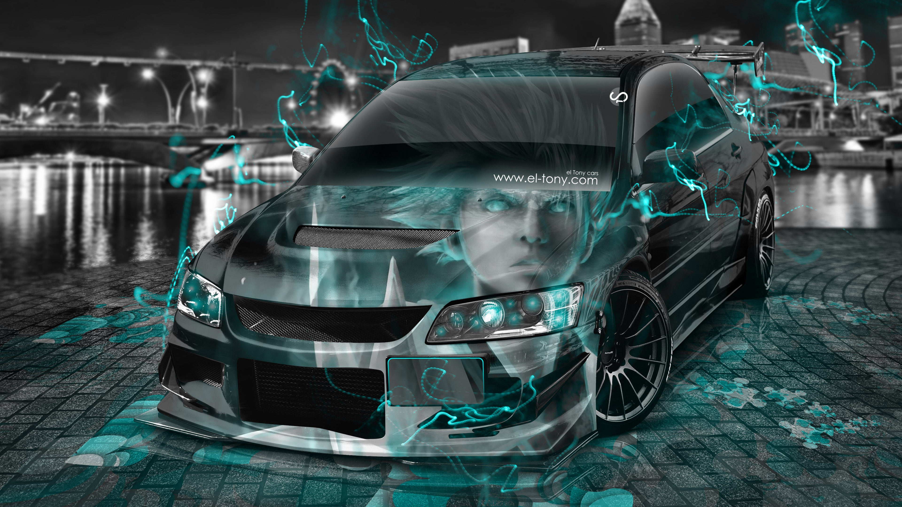 Mitsubishi-Lancer-Evolution-JDM-Tuning-3D-Anime-Boy-Aerography-Night-City-Energy-Car-2015-Azure-Neon-Effects-4K-Wallpapers-design-by-Tony-Kokhan-www.el-tony.com-image