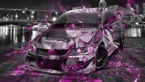 Mitsubishi-Lancer-Evolution-JDM-Tuning-3D-Anime-Girl-Aerography-Night-City-Energy-Car-2015-Pink-Neon-Effects-4K-Wallpapers-design-by-Tony-Kokhan-www.el-tony.com-image