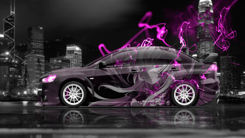 Mitsubishi-Lancer-Evolution-X-JDM-Side-Anime-Girl-Aerography-City-Energy-Car-2015-Art-Pink-Neon-Effects-4K-Wallpapers-design-by-Tony-Kokhan-www.el-tony.com-image