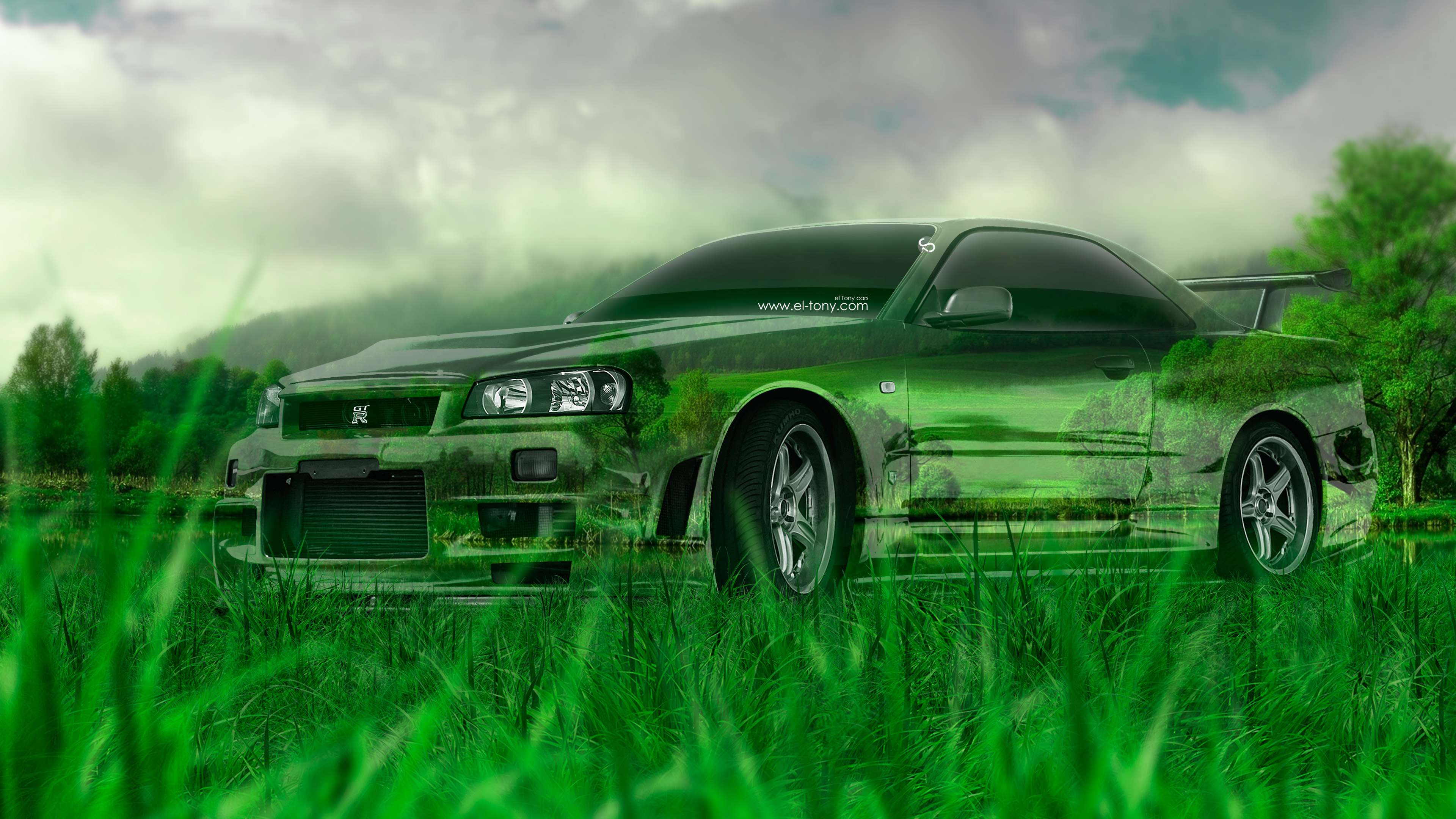 Nissan-Skyline-GTR-R34-JDM-Tuning-Crystal-Nature-Car-2015-Art-Mix-Green-Grass-Style-4K-Wallpapers-design-by-Tony-Kokhan-www.el-tony.com-image