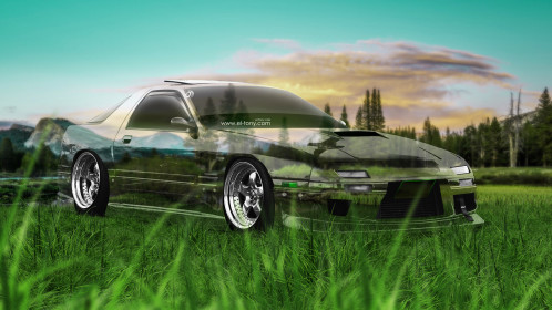 Nissan-180SX-JDM-Tuning-3D-Crystal-Nature-Car-2015-Green-Grass-Style-4K-Wallpapers-design-by-Tony-Kokhan-www.el-tony.com-image