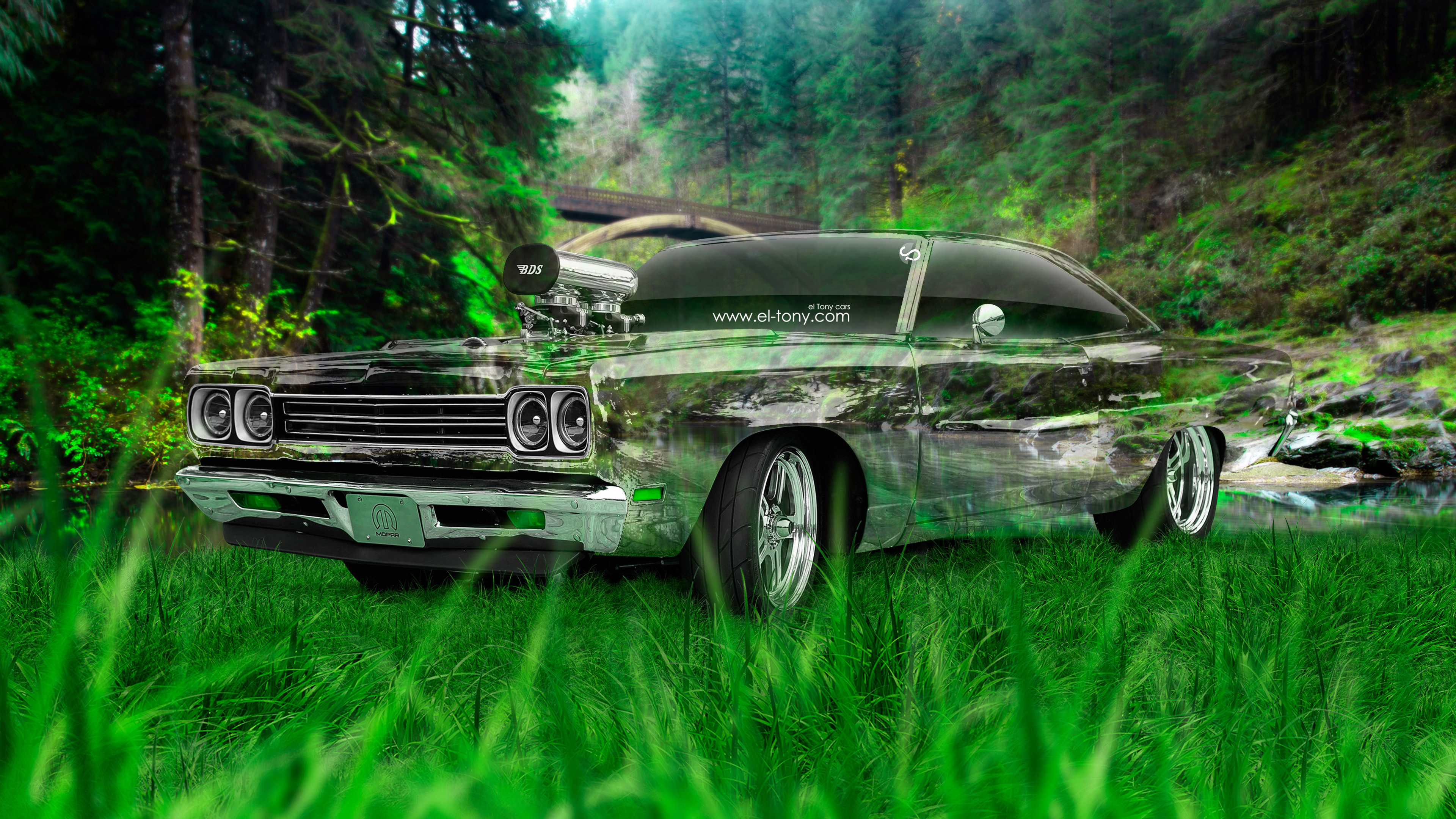 Plymouth-Road-Runner-1969-Tuning-Muscle-3D-Crystal-Nature-Car-2015-Green-Grass-Style-4K-Wallpapers-design-by-Tony-Kokhan-www.el-tony.com-image