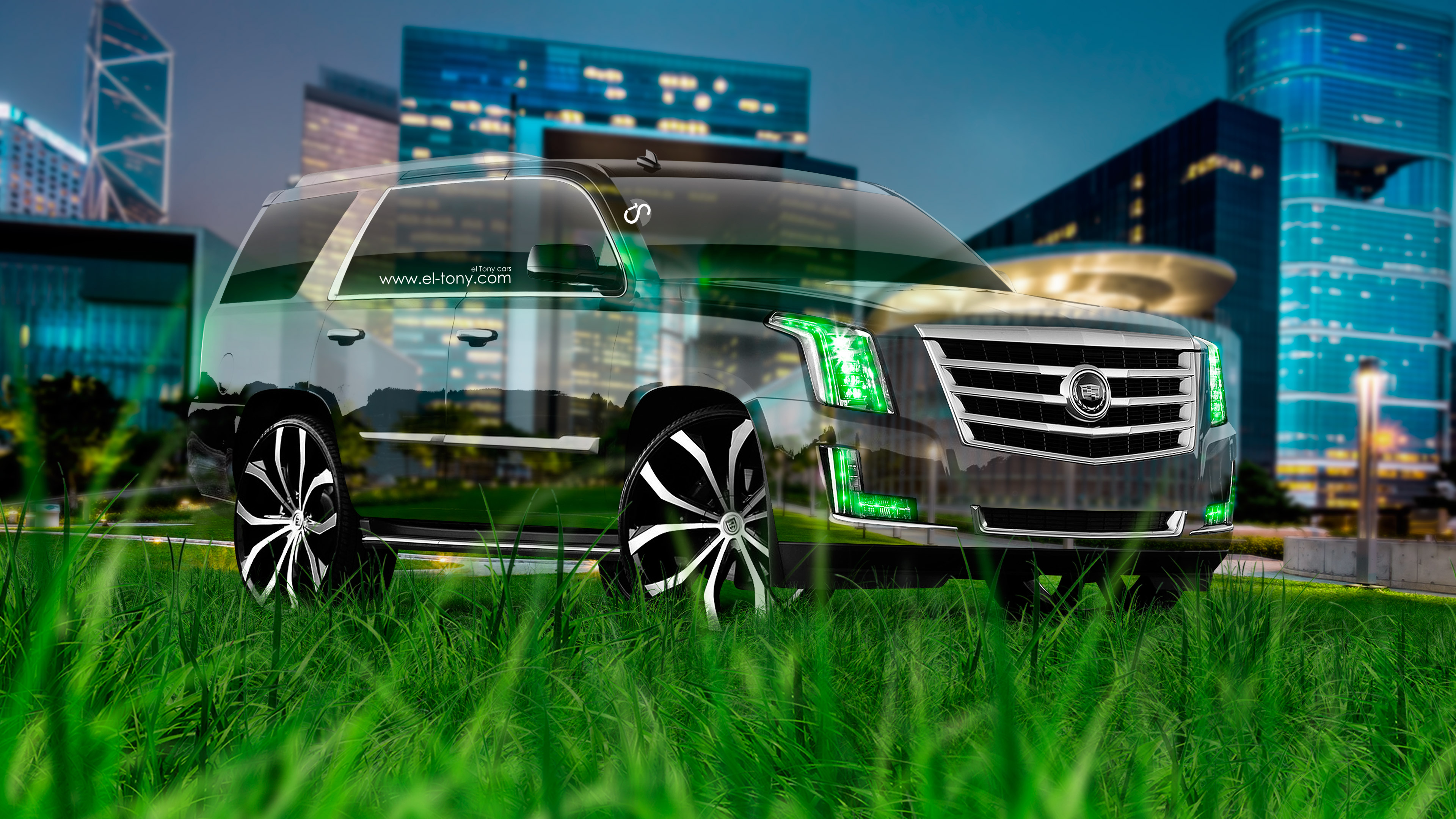 Cadillac-Escalade-Tuning-Crystal-Nature-City-Night-Car-2015-Fantasy-Green-Grass-Style-4K-Wallpapers-design-by-Tony-Kokhan-www.el-tony.com-image
